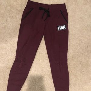 VS PINK Maroon Reflective Patch Sweatpants/Joggers